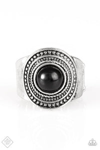 "Paparazzi ""Target Trance"" FASHION FIX Sunset Sightings Black Bead Silver Ring Paparazzi Jewelry"