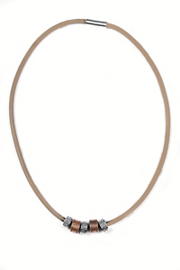 "Paparazzi ""Congo Cay"" Brown Suede Silver Copper Accent Urban Necklace Unisex Paparazzi Jewelry"