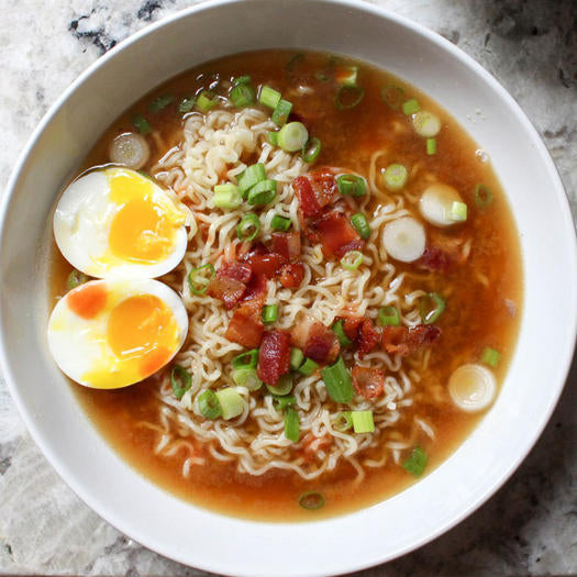 Homemade Ramen with Bacon & Soft-Boiled Eggs