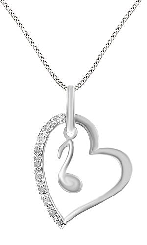 14k White Gold Over Sterling Silver White Natural Diamond Music Note Pendant Necklace (0.1 Ct)