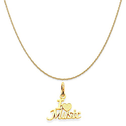 14k Yellow Gold I Love Music Charm on a 14K Yellow Gold Rope Chain Necklace, 18
