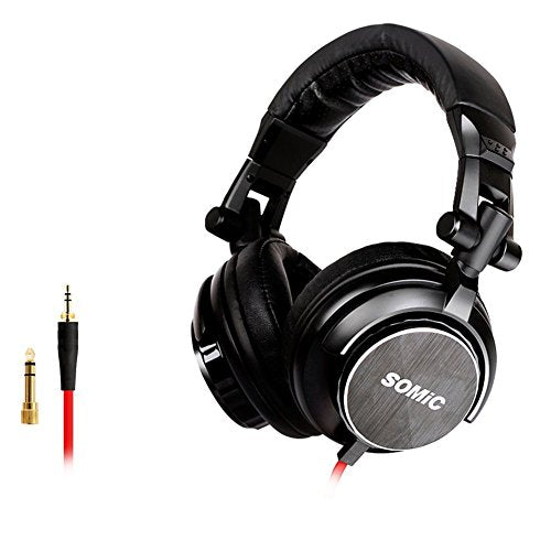 SOMIC MM185 Noise Cancelling, Bass, Hi-Fi, Light Weight, Over Ear,Music DJ Headphones, Foldable Stereo Sound,3.5/6.5 MM Plug Professional Studio Monitor & Mixing (Black)