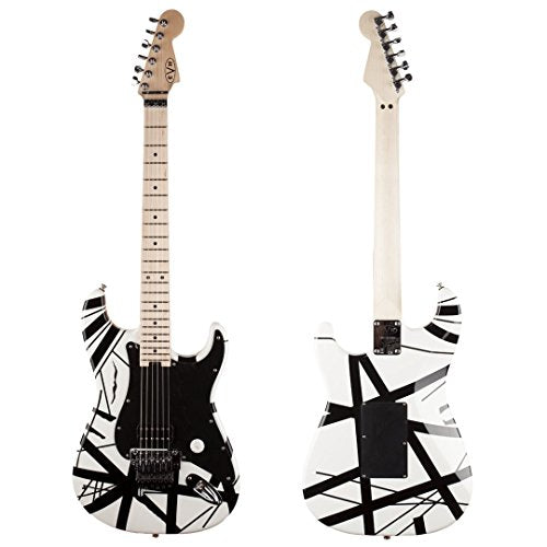 ab69076c363 ... EVH Striped Series Stratocaster Electric Guitar - White with Black  Stripes ...
