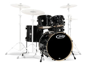 PDP By DW PDCM2215PB 5-Piece Concept Maple Shell Pack with Black Hardware, Pearlescent Black