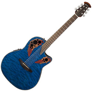 Ovation CE44P-8TQ Acoustic-Electric Guitar, Trans Blue Quilt Maple
