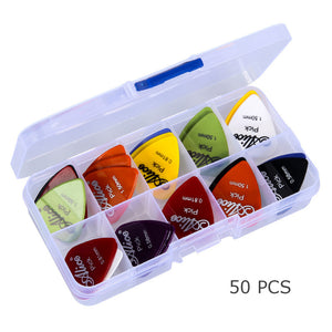50pcs Guitar Picks 1Box Case Mixed Thickness 0.58mm-1.50mm