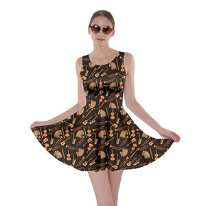 Jogja Women's Musical Instruments Print Skater Dress, Brown - M