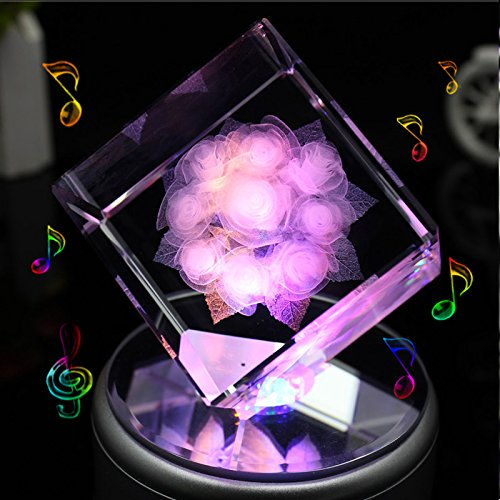 Engraved Square Crystal 3D Rose Flower Colorful Music Box with 2G Memory Card, Rose, Bluetooth Base , by LIWUYOU