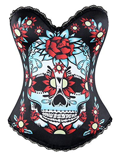 Charmian Women's Punk Sugar Skull Rose Print Rock N Roll Fashion Boned Bustier Top Halloween Costume Corset Rose-Black Small