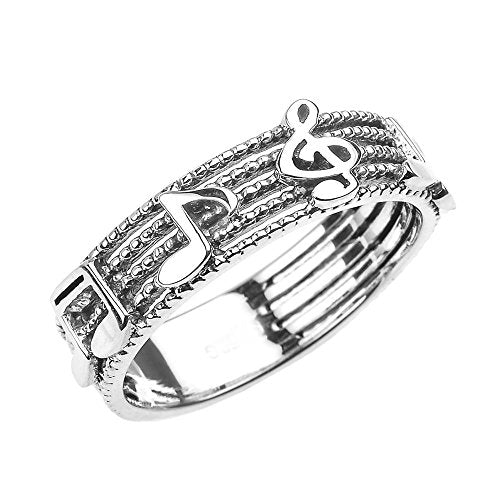 Solid 14k White Gold Treble Clef with Musical Notes Band Ring 6 MM(Size 16)