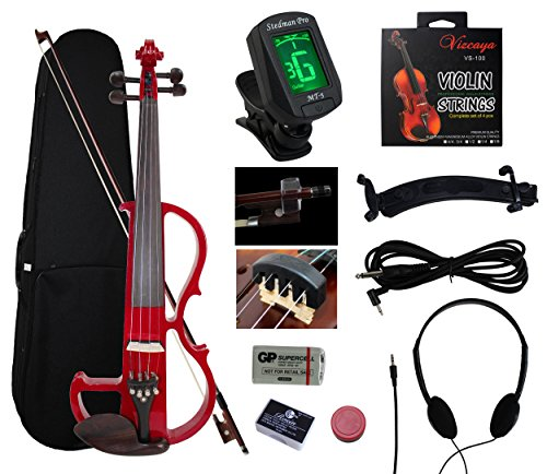 YMC SEV01 Full-Size 4/4 Solid Wood Electric/Silent Violin with Ebony Fittings Complete Kit (Hard Case,Bow,E-Tuner,Headphones,Shoulder Rest,Mute,Pinkinest,Extra Strings,Rosin,Violin Hanger)--Red
