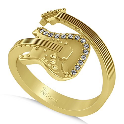 (0.07ct) 14k Yellow Gold Diamond Accented Wrap Around Guitar Music Fashion Ring