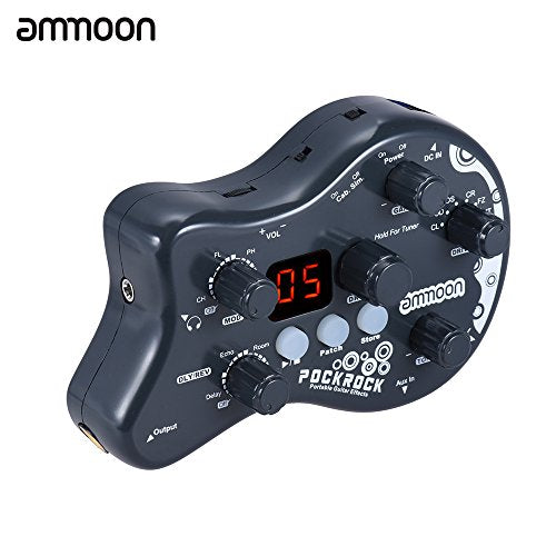 ammoon PockRock Guitar Multi-effects Processor Effect Pedal 15 Effect Types 40 Drum Rhythms Tuning Function with Power Adapter