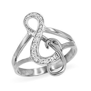 Treble G-Clef Music Note Diamond Ring in Polished 14k White Gold (Size 5.5)