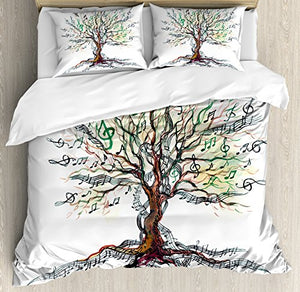 Music Decor TWIN / TWIN XL/ QUEEN / FULL/ KING Size Duvet Cover Set by Ambesonne, Musical Tree Autumn Clef Trunk Swirl Nature Illustration Leaves Creative Design, Decorative 3 Piece Bedding Set with 2 Pillow Shams