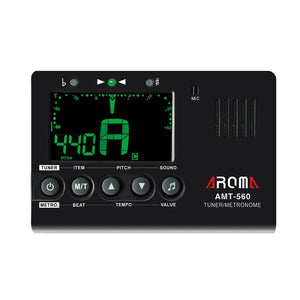 Aroma AMT-560 Electric Guitar Tuner & Metronome Built-in Mic with Pickup Cable 6.3mm