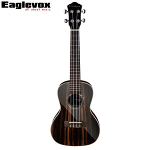 Ebony Concert Ukulele 23 inch High end Uku Closed Knob Machine Heads 18 Frets