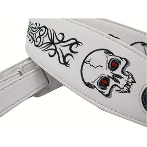 Leather Guitar Strap Skull Design