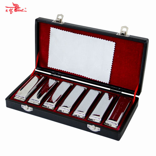 SWAN Bluesband Harmonicas Diatonic Blues Harp Set with Key of A/B/C/D/E/F/G - 7pcs/Set