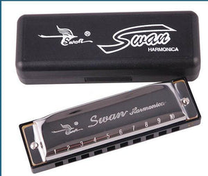 Silver Metal Swan Diatonic Blues Harmonica/ 10 Holes Key C