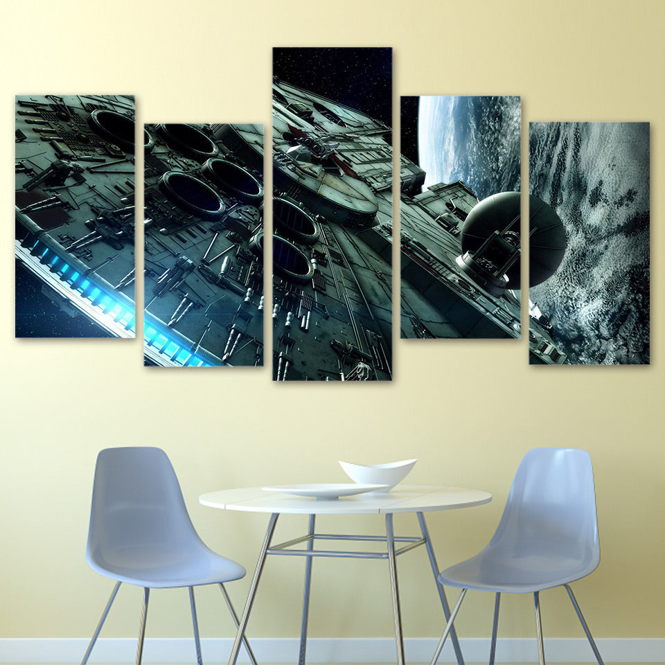 Star wars millennium falcon 5 panel canvas art piece the lazy hut