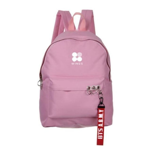 Bts A.r.m.y Wings Logo Backpack - Pink - Bags