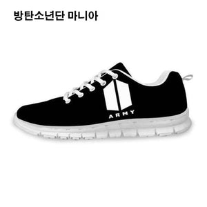 Bts () Army Logo Sneakers - Black And White / 5 - Sneakers