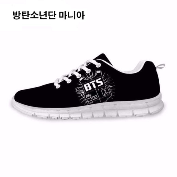 Bts () Bulletproof Vest Logo Sneakers - Black And White / 5 - Sneakers