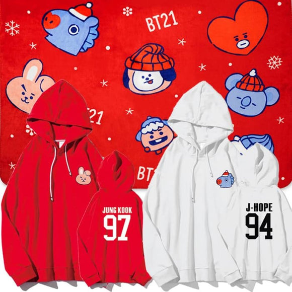Bts Bt21 Christmas Members Hoodie - Hoodies & Jackets
