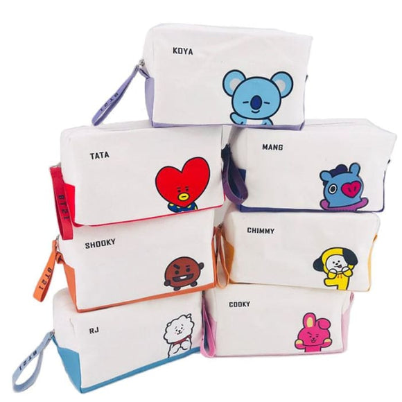 BTS BT21 Design Canvas Cosmetic Bag - Set Of 7 (Save 20%) - BT21