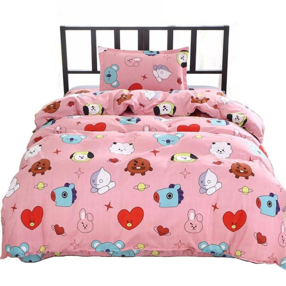 BTS BT21 Design Pink Bed Cover + Sheet + Pillowcase - BT21