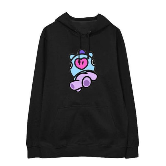 Bts Bt21 Mang Hoodie (Black And White) - Mang Black / S - Hoodies & Jackets