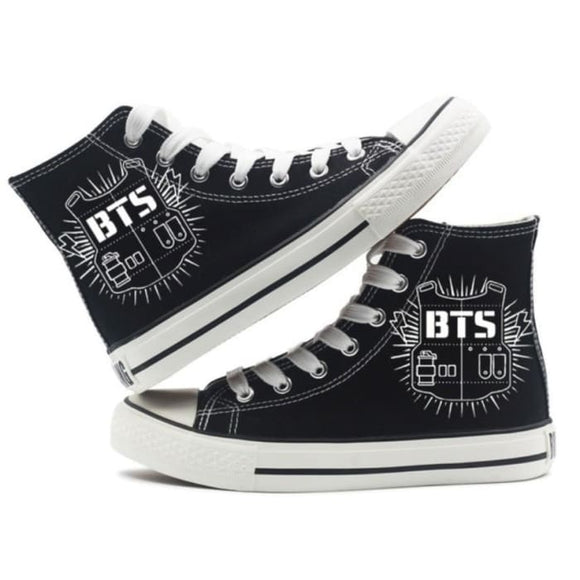 BTS Bulletproof Vest Logo High-Top Canvas Shoes - 35 - Shoes