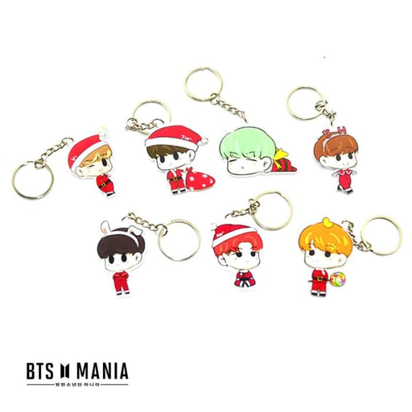 Bts Cartoon Christmas Edition Keyring - All 7 (20% Off) - Accessories