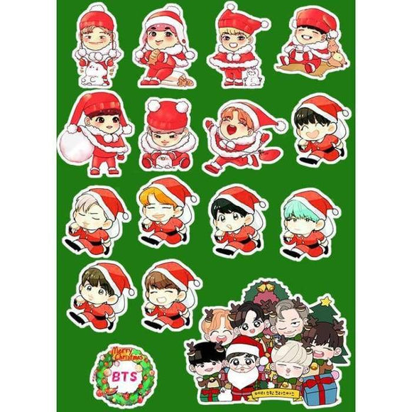 Bts Christmas Cartoon Stickers - Stickers
