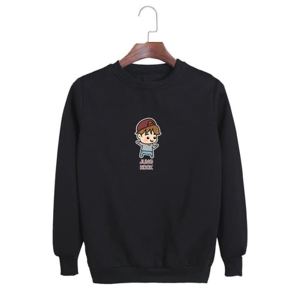 Bts Cute Cartoon Member Sweatshirt - Jungkook / Black / S - Sweatshirts