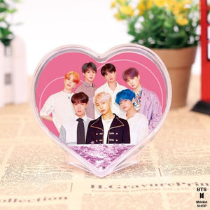 BTS Heart Design Glitter Crystal Frame - Accessories