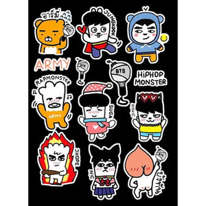 Bts Hiphop Cartoon Stickers - Stickers
