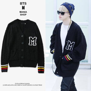 Bts Jimin M Fashion Black Cardigan - S - Bangtan Fashion