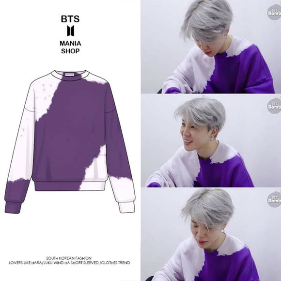 BTS Jimin Purple Tie Dye Sweater - S - Bangtan fashion