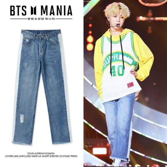 Bts Jimin Retro High Waist Jeans - S - Bangtan Fashion