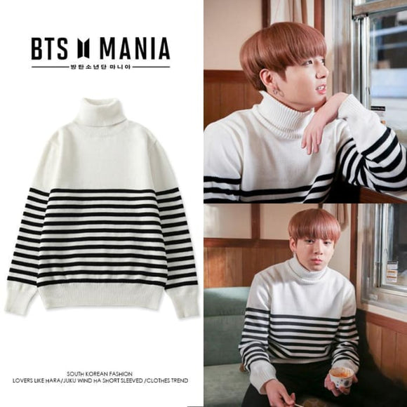 5d3c6bb5ac0 Bts Jungkook Stripe B w Sweater - S   B amp w - Bangtan Fashion