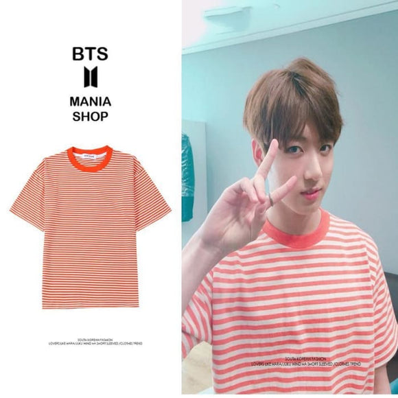 9f15aae12c1 Bts Jungkook Striped Orange T-Shirt - S - Bangtan Fashion