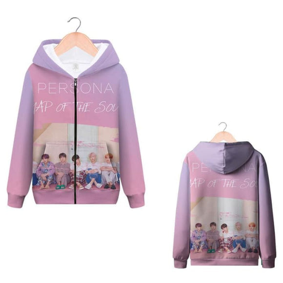 BTS Map Of The Soul Persona 3D Zip Up Hoodie - Hoodies & Jackets
