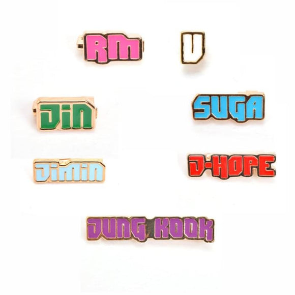 BTS Member Name Color Brooch Badge - SET Of 7 (SAVE 20%) - Accessories