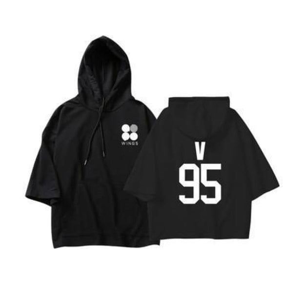 Bts Members Wings Spring Hoodie - M / Black / V - Hoodies & Jackets