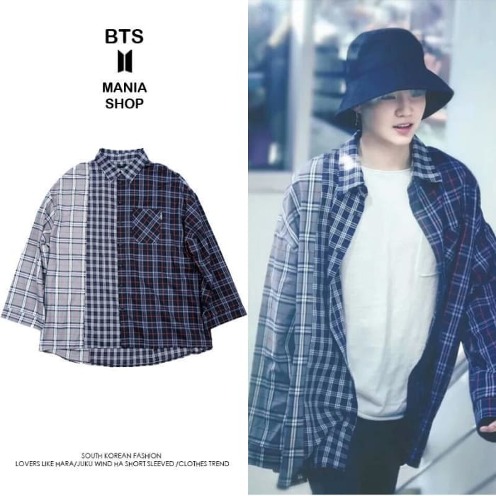 5cf8a32fd5b Bts Suga Oversized 3 Patterns Shirt - Xl   Dark Blue - Bangtan Fashion ...