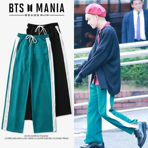 Bts Taehyung V School Trouser - S / Green - Bangtan Fashion