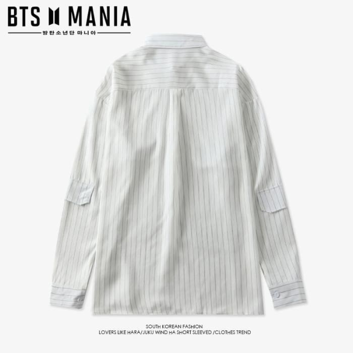 a8aa9cd7dd1 ... Bts Taehyung V Striped Oversized Shirt - Bangtan Fashion ...