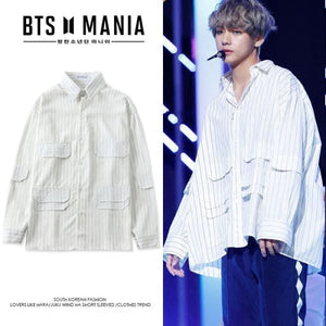 f98782ac286 Bts Taehyung V Striped Oversized Shirt - S - Bangtan Fashion
